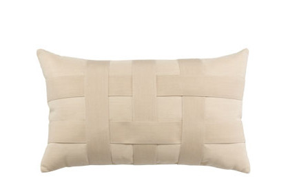 Elaine Smith Basketweave Ivory Lumbar Pillow