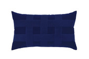 Elaine Smith Basketweave Navy Lumbar Pillow
