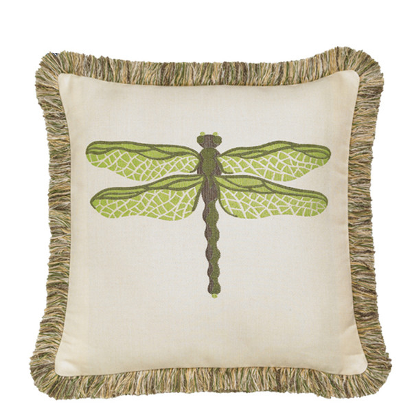 Elaine Smith Dragonfly Peridot Toss Pillow