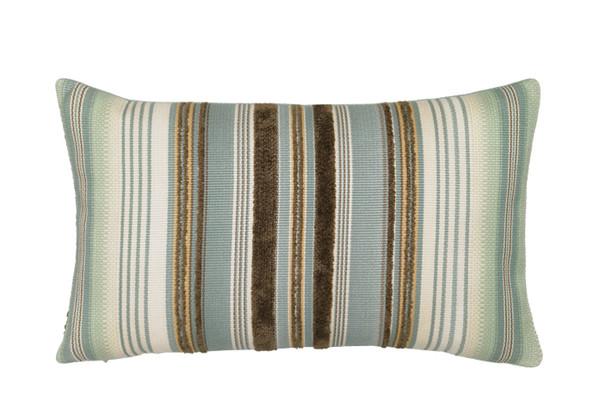 Elaine Smith Aqua Stripe Lumbar Pillow