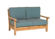 Loveseat with Cast Lagoon and Mushroom welt
