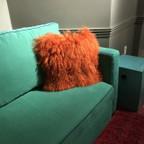Lamb Fur Pillow- Orange