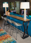 Reclaimed Teak Top Console Table with Iron Base