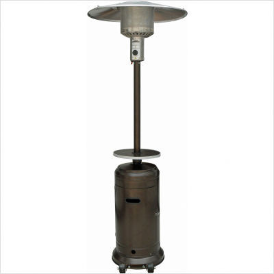 Tall Hammered Bronze Patio Heater With Table