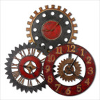 Rusty Movements Clock in Red
