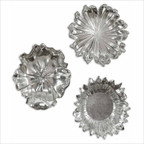 Silver Flowers Wall Art in Silver (Set of 3)