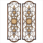 Micayla Panels Wall Art in Antiqued Gold - Set of 2