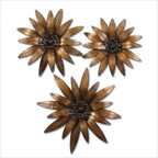 Golden Gazanias Wall Art in Gold - Set of 3
