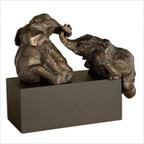 Playful Pachyderms Sculpture in Antiqued Bronze Patina