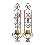 Privas Candle Wall Sconces in Mahogany Rust, Set of 2