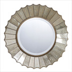 Amberlyn Round Mirror in Antique Gold Leaf