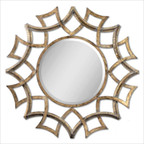 Demarco Round Mirror in Antiqued Gold