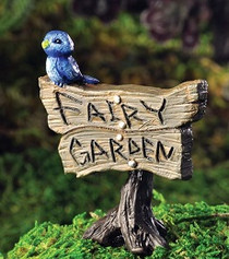 Blue Bird Sign Miniature Fairy Garden Sign