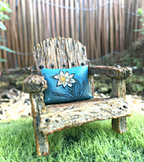 Chair w Blue Flower Pillow