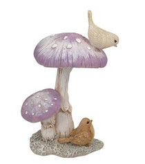 Pastel Purple Mushrooms w/Birds