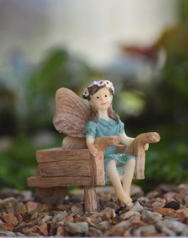 Miniature Fairy Garden Fairy   Miniature Fairy Garden Statue   Fairy Eliza w/Wheelbarrow