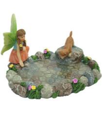 Miniature Fairy Garden Pond | Miniature Fairy Garden Water Feature | Garden Pond w/ Fairy and Puppy