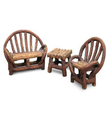 Miniature Fairy Garden Bistro | Miniature Fairy Garden Furniture | Appalachian Bench Set