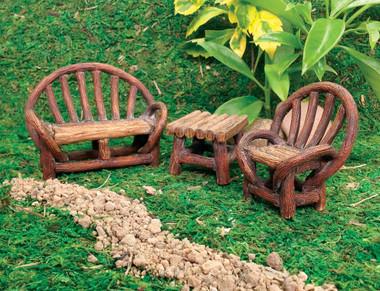 Miniature Fairy Garden Bistro | Miniature Fairy Garden Furniture | Appalachian Bench Set