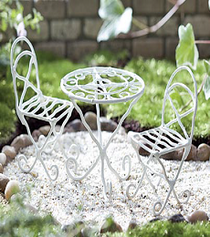 White Mini Bistro Set great for fairy and mini gardens