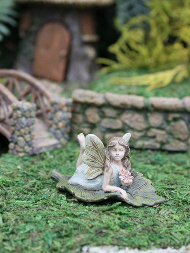 Miniature Fairy Garden Fairy | Miniature Fairy Garden Statue | Fairy Lacey On The Leaf