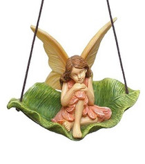 Miniature Fairy Garden Fairy | Miniature Fairy Garden Statue | Leaf Swing W/ Fairy