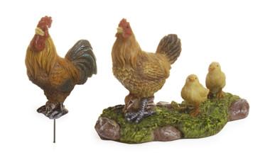 Miniature Fairy Garden Chickens | Miniature Fairy Garden | Rooster with Chickens