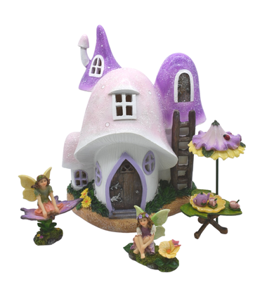Pink Mushroom Solar Tea Party Set