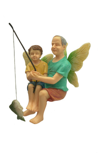 Miniature Fairy Garden Fairy   Miniature Fairy Garden Statue   Fishing With Grandpa