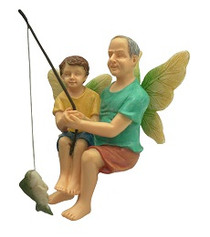 Miniature Fairy Garden Fairy | Miniature Fairy Garden Statue | Fishing With Grandpa