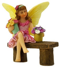 Miniature Fairy Garden Fairy | Miniature Fairy Garden Statue | Fairy Isabella and Bench