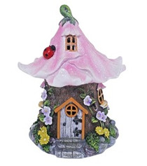 Miniature Fairy Garden Solar | Miniature Fairy Garden Houses | Solar Pink Glitter House