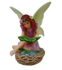 Miniature Fairy Garden Fairy - Fairy Statues - Willow Blue Bird Nest