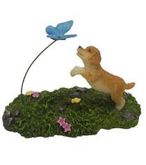 Miniature Fairy Garden Pet - Fairy Statues - Puppy Chasing Butterfly