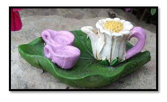 Miniature Fairy Garden Tea Set | Miniature Fairy Garden Accessories | Rose Tea Set w/Tray
