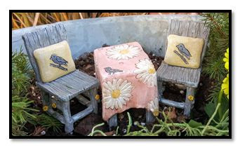 Miniature Fairy Garden Bistro - Miniature Fairy Garden Furinture - Table for Two