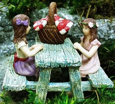 Miniature Fairy Garden Fairy - Fairy Garden Furniture - Picnic Time