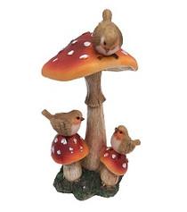 Miniature Fairy Garden Mushroom | Miniature Fairy Garden Accessories | Mushroom with Birds