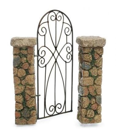 Fairy Garden Gate  - Miniature Fairy Garden Fence - Pillared Gateway