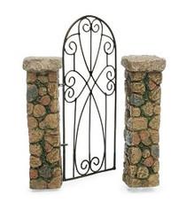 Fairy Garden Gate  - Miniature Fairy Garden Fence - Pillared Gateway w