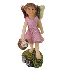 Miniature Fairy Garden Fairy - Fairy Garden Statue - Harper with Bunny