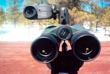 Dual mount shown here with a range finder and binoculars attached to the tripod
