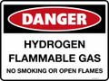 DANGER - HYDROGEN FLAMMABLE GAS MO SMOKING OR OPEN FLAMES