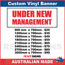 UNDER NEW MANAGEMENT - WHITE BANNER / RED TEXT