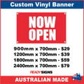 NOW OPEN - CUSTOM VINYL BANNER SIGN
