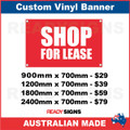 SHOP FOR LEASE - CUSTOM VINYL BANNER SIGN