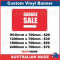 GARAGE SALE ARROW - CUSTOM VINYL BANNER SIGN