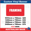 FRAMING - CUSTOM VINYL BANNER SIGN
