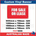 FOR SALE OR LEASE - CUSTOM VINYL BANNER SIGN