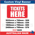 TICKETS HERE - CUSTOM VINYL BANNER SIGN